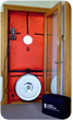 A blower door is used to find drafts, and poorly weatherized homes and buildings